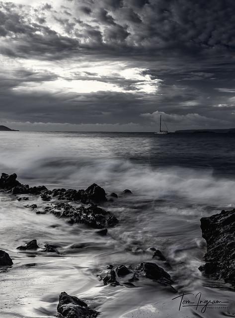 Kihei Sunrise in black and white