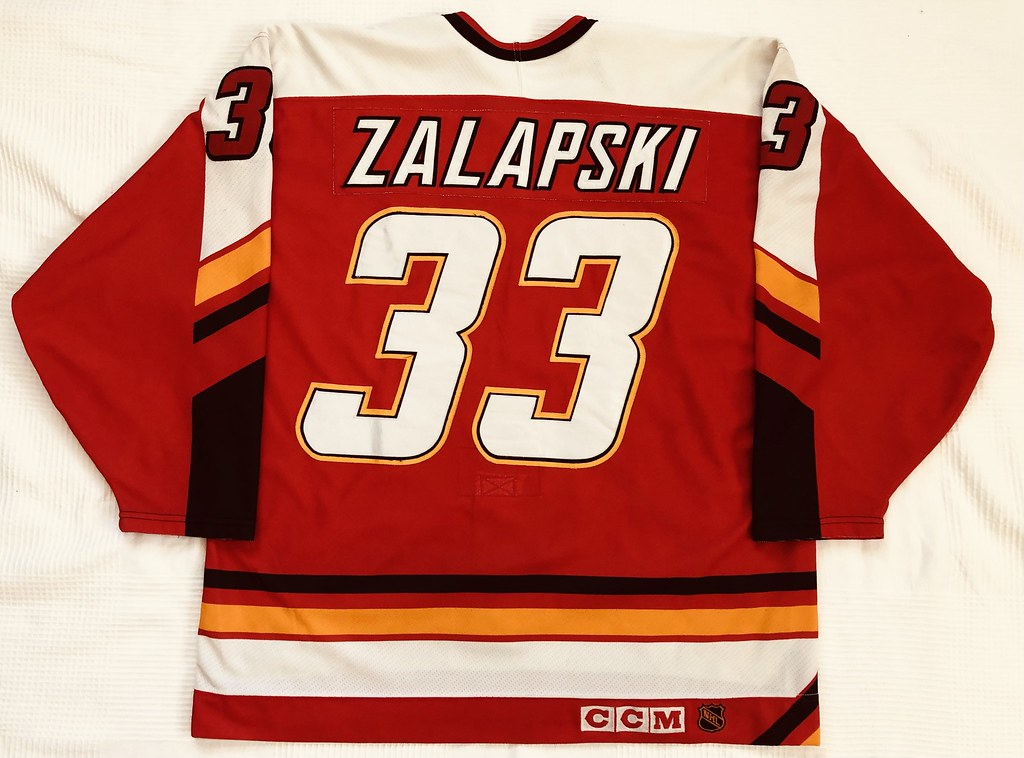 1996-97 Zarley Zalapski Calgary Flames Away Set 2 Game Used Jersey Back