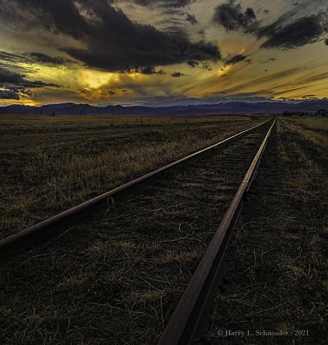 colorado erieco frontrange railroadtracks rockymountains sky sunset iphone mountains clouds landscape goldcollection