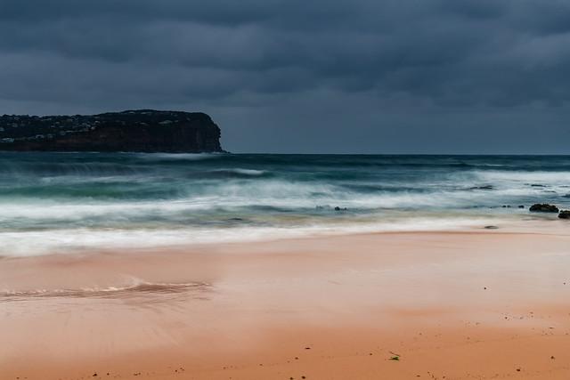 Wet weather sunrise seascape