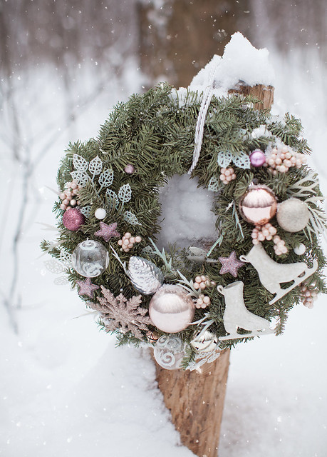 holiday wreath and snowy weather