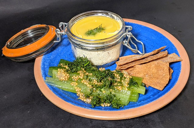 Potted mackerel sourdough crisps cucumber pickle with mustard seed & dill