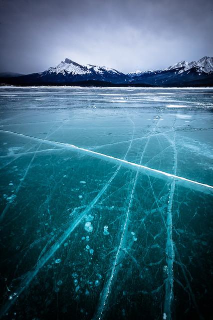 Frozen Abraham Lake, Canadian Rockies