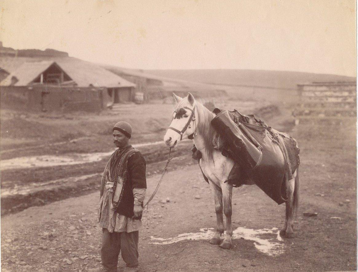 Тулухчи (водовоз) айсор, ведущий лошадь под узцы