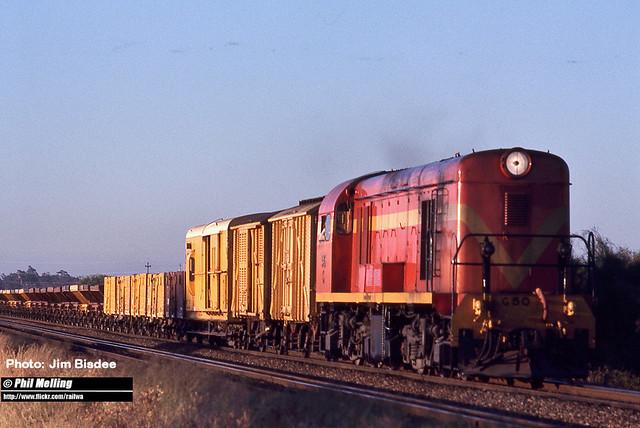 JB1110 G50 empty 4 wheel ballast train South Guildford September 1975