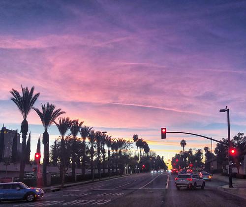 drive clouds color pink palmtrees hometown blvd california pasadena sunset january