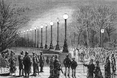 Grabado que representa la iluminación eléctrica en Londres, 1878. Fuente: Le blog d'histoire des sciences