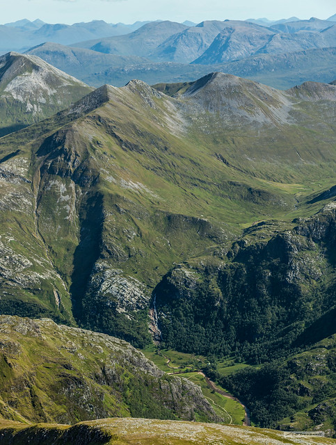"""Looking South from Ben Nevis into Glen Nevis and to """"The Mamores"""" and Argyll Highlands, beyond."""