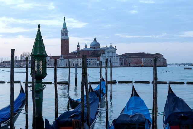 Basilica of San Giorgio Maggiore with gondolas in the foreground, Venice, Italy