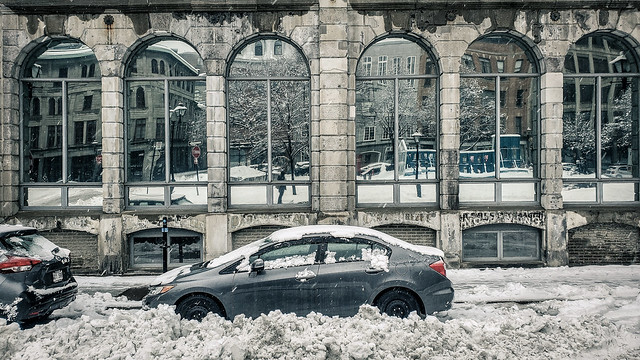 Snow Covered Car in Old Montreal