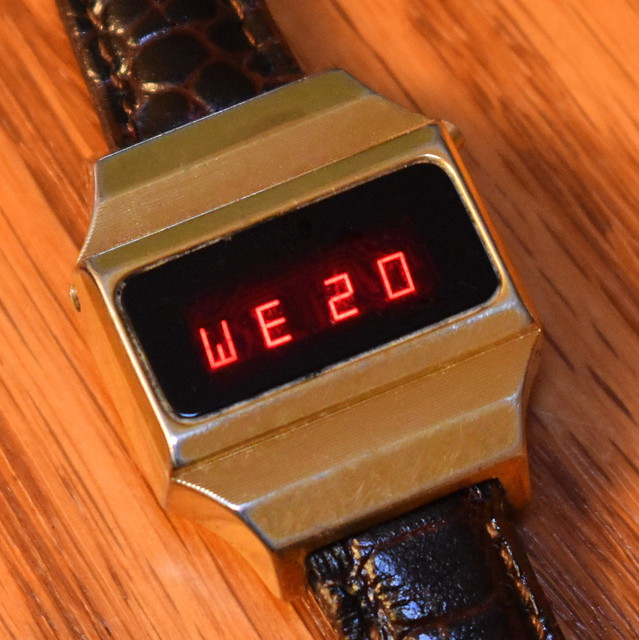A Well Worn Vintage Timex Ladies Goldtone Digital Quartz Watch With Red LED Display, Watch Assembled In Taiwan, Circa Mid-1970s