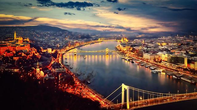 Danube River at Dusk, Budapest, Hungary