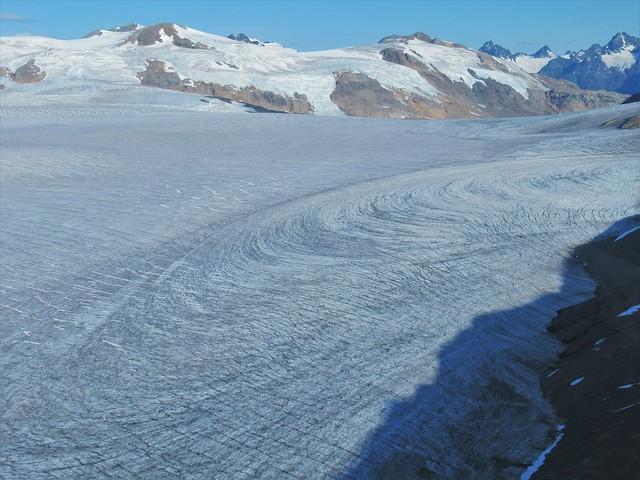 Glaciers merging, Stikine River region, NW British Columbia