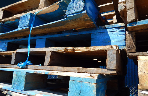 Fisherman's Wharf: stack of blue wood pallets