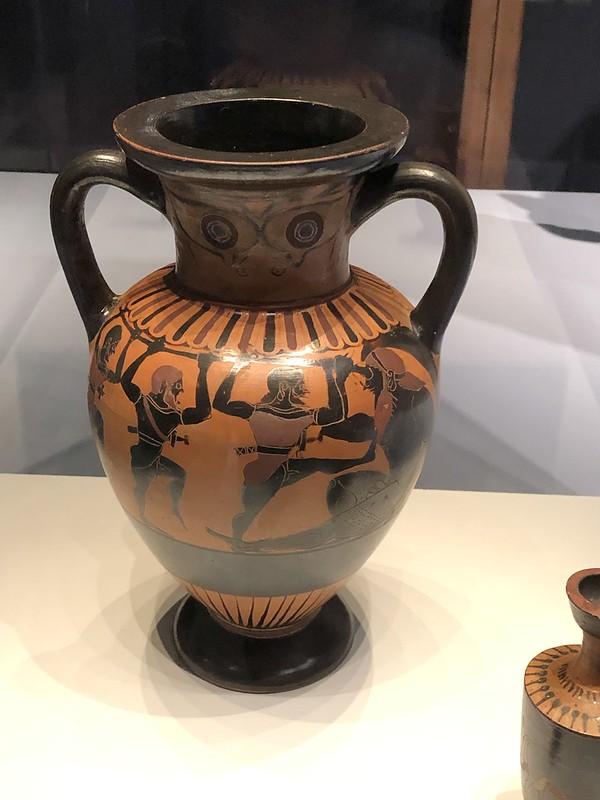 Odysseus and his men blind Polyphemus