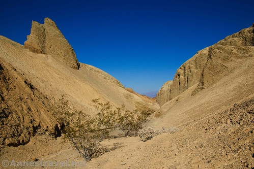 A spire over 20 Mule Team Canyon, Death Valley National Park, California