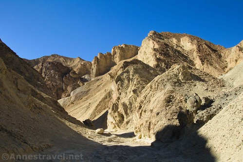 Looking up 20 Mule Team Canyon near the where the walls begin to narrow, Death Valley National Park, California