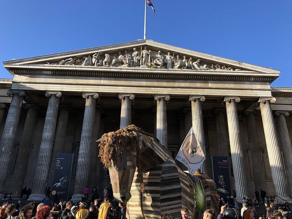 The facade of the British Museum with Trojan Horse