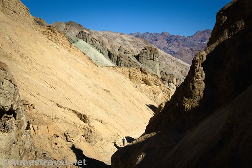 My group member, patiently waiting for me in 20 Mule Team Canyon, Death Valley National Park, California