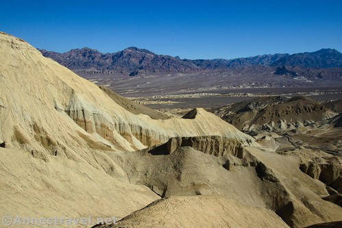 Views down Corkscrew Canyon to the Funeral Mountains from the top of 20 Mule Team Canyon, Death Valley National Park, California