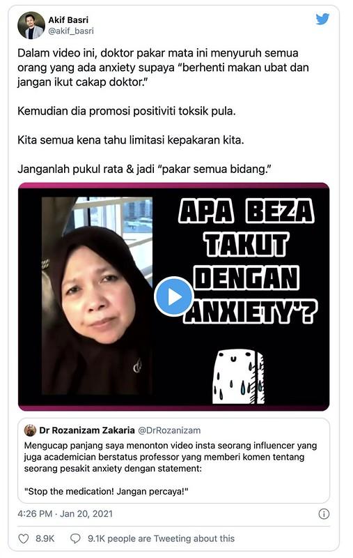 Prof Muhaya Dikecam Netizen Gara-Gara Meminta Pesakit 'Anxiety' Henti Makan Ubat?