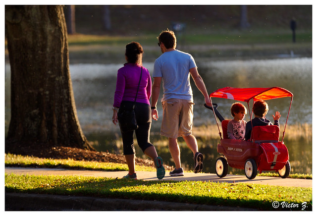 Family Strolling, Lake Mary, Florida --676