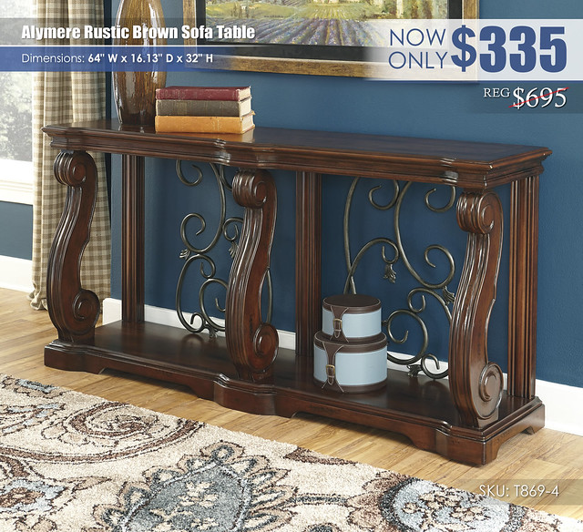 Alymere Rustic Brown Sofa Table_T869-4