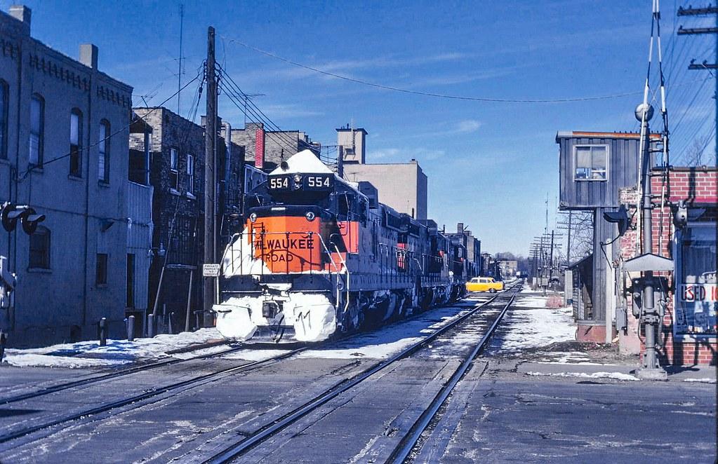 Milwaukee Rd SD-10's at Elgin IL Dec 1977