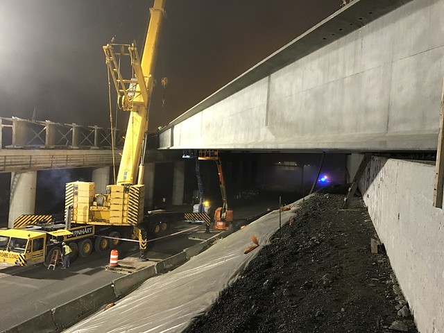 Bridge girders being set overnight Monday Jan 18
