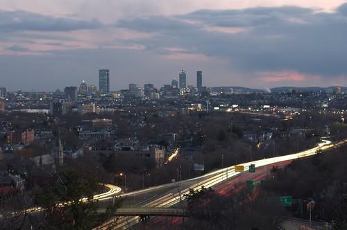 highway i93 boston wrights hill city skyline urban town massachusetts new england winter landscape cityscape tree sunset skyscape cloud