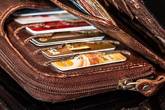 Wallet full of credit cards: power of money