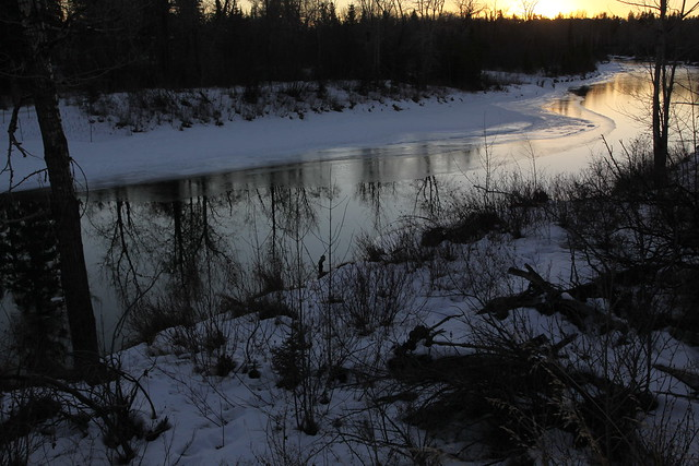 Elbow River winter sunset, Calgary