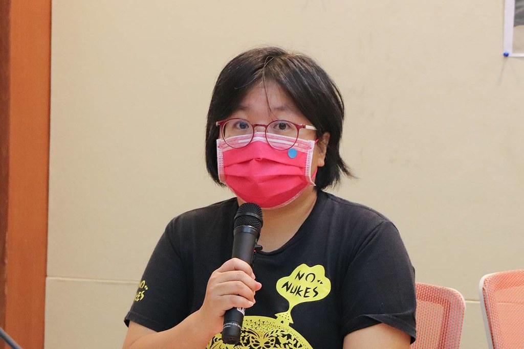 20210121環團五問核四狀況大揭露記者會。台灣蠻野心足生態協會律師蔡雅瀅。照片提供:地球公民基金會