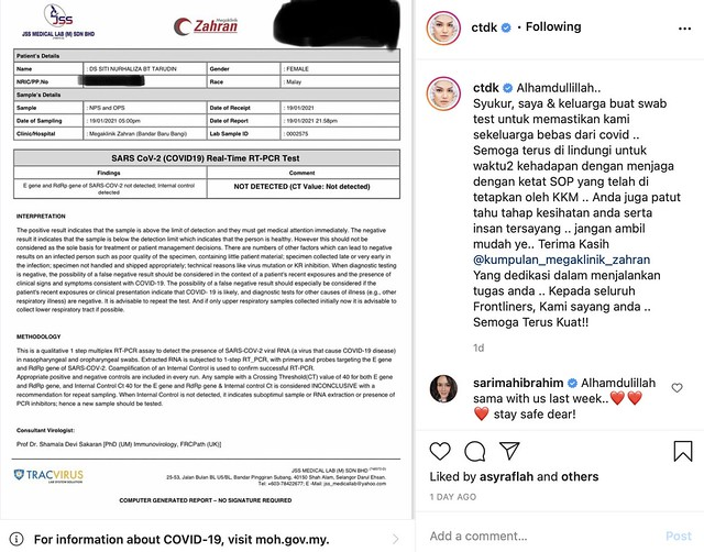 Buat Swab Test Di Rumah, Siti Nurhaliza Negatif Covid-19, Titip Doa Buat Frontliners