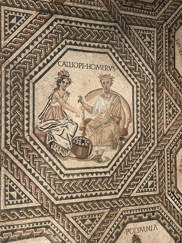 Mosaic Detail of Calliope and Homer
