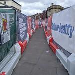 Barriered footpath at Adelphi, Preston