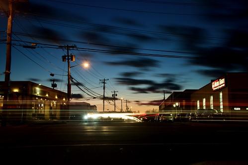 d850 nikon nikkor newyork longisland longexposure li slowshutter lighttrails street streetlights clouds sky urban urbanlandscape dusk nikond850 cars mineola