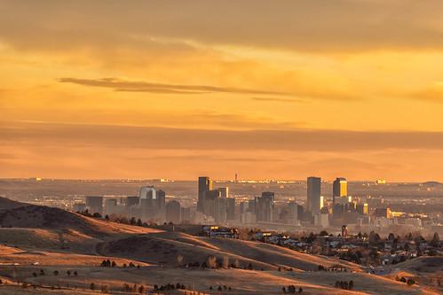downtown denver colorado skyline cityscape cityscapes landscape landscapes denverinternationalairport sunrise