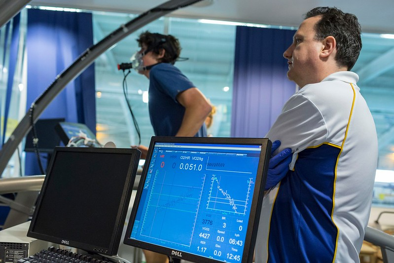 A sports student taking part in VO2 max and strength tests at the Sports Training Village.