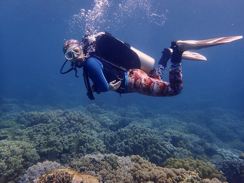 Scuba diver looking at the camera