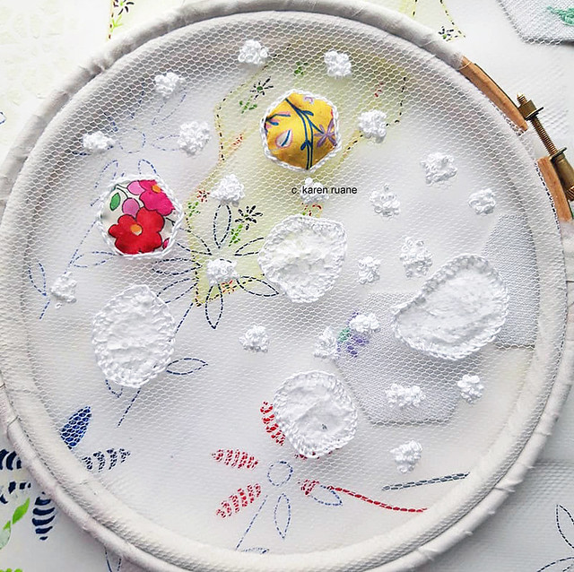 hand embroidery, sampling with net