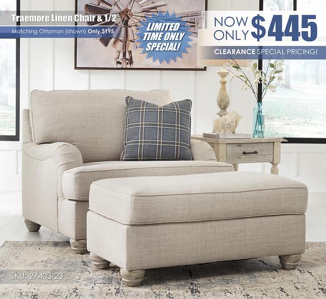 Traemore Linen Chair & Half Special_27403-23-14_Update