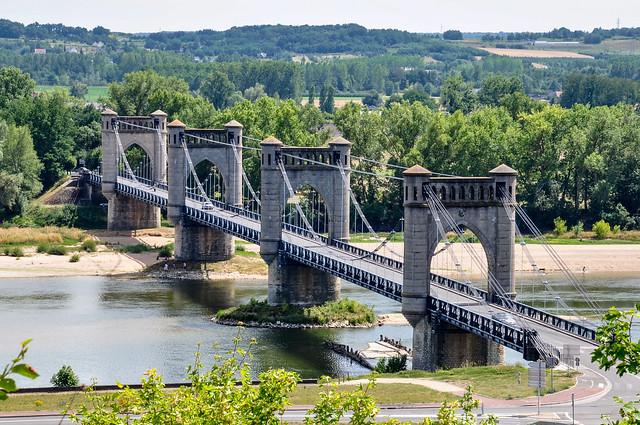Le pont suspendu de Langeais, région Centre-Val de Loire, France