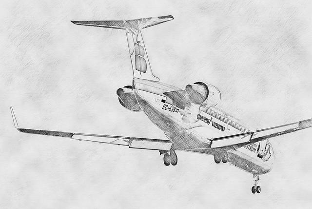 Canadair CRJ200 pencil sketch