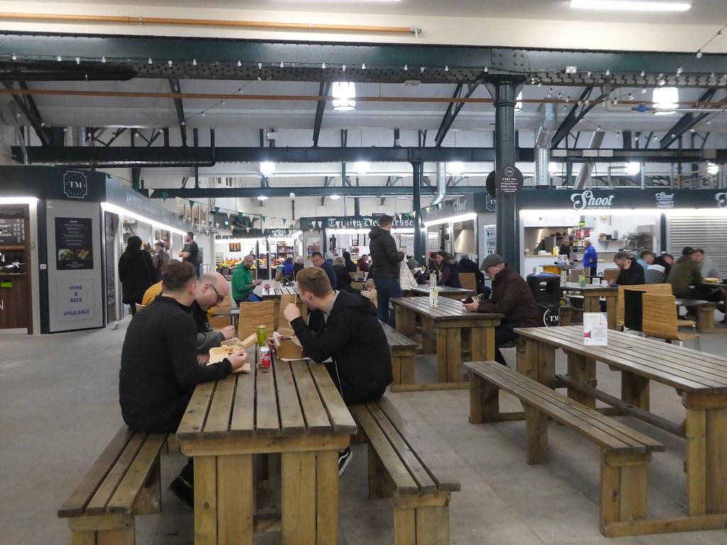 Street food dining in Trinity Market Hall, Hull