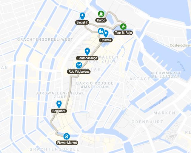 Mapa del tercer día de nuestro viaje de 3 días por Amsterdam