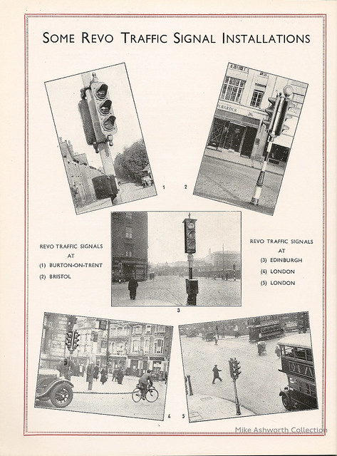 Revo Electric Ltd., Tipton, Staffordshire : catalogue of Automatic Traffic Signals, c1935 - some Revo installations