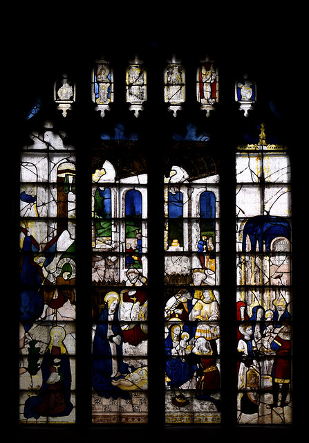 Fairford, Gloucestershire, St. Mary's church, stained-glass window # 3:  nativity