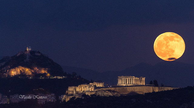 Lycabettus hill, the Acropolis of Athens and the full moon rising