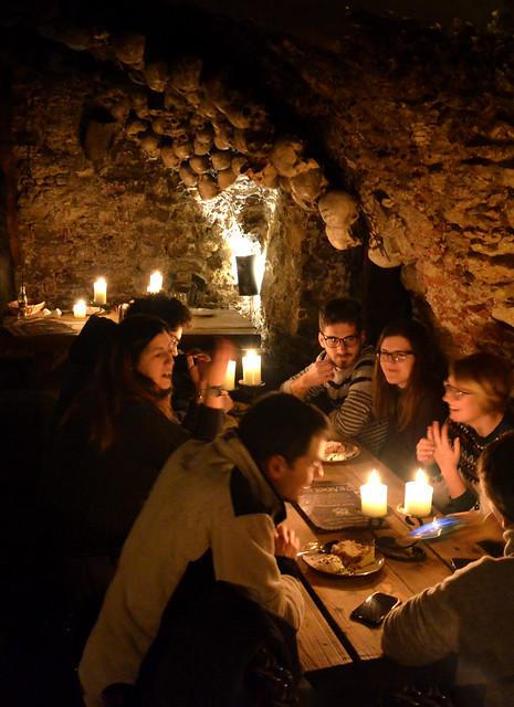 A nice dinner under the skulls